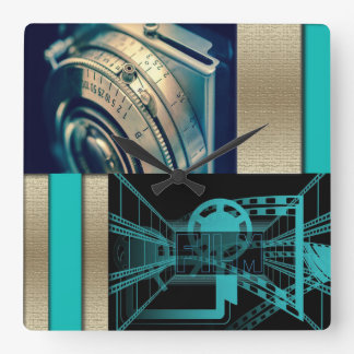 Turquoise & Gold Film & Camera Square Wall Clock