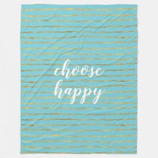 Turquoise Gold Glam Stripes Happy Fleece Blanket