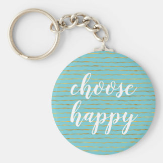 Turquoise Gold Glam Stripes Happy Key Ring