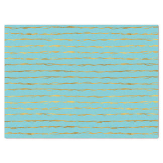 Turquoise Gold Glam Stripes Tissue Paper