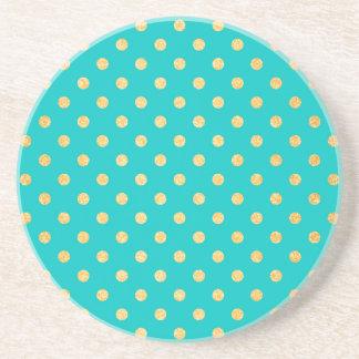 Turquoise Gold Glitter Polka Dots Pattern Coaster