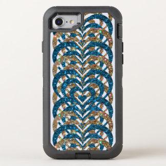 Turquoise & Gold Glitter Spiral Vortex Hearts - OtterBox Defender iPhone 8/7 Case