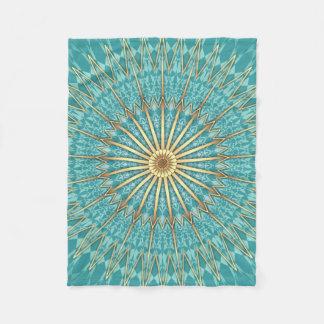 Turquoise Gold Mandala Geometric Pattern Fleece Blanket
