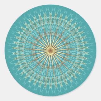 Turquoise Gold Mandala Pattern Classic Round Sticker