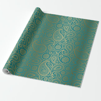 Turquoise & Gold Paisley Pattern Wrapping Paper