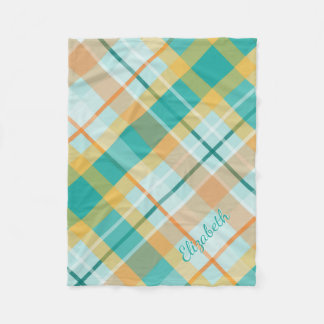 turquoise gold teal peach colorful summer plaid fleece blanket