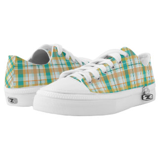 turquoise gold teal peach summertime plaid printed shoes