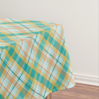 turquoise gold teal peach summertime plaid tablecloth
