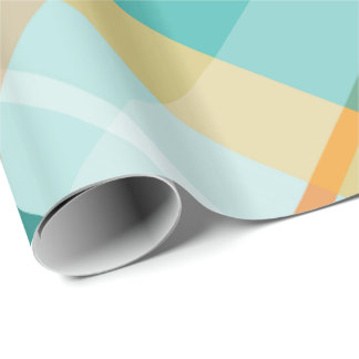 turquoise gold teal peach summertime plaid wrapping paper