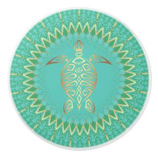 Turquoise Gold Turtle Animal Mandala Ceramic Knob