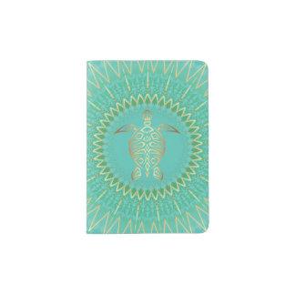 Turquoise Gold Turtle Animal Tribal Passport Holder