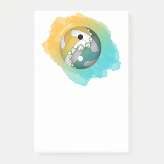turquoise gold yin and yang volleyball her name post-it notes