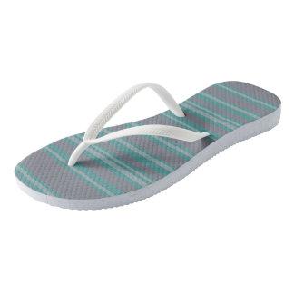 Turquoise gray awning stripe pattern STRIPE14 Thongs