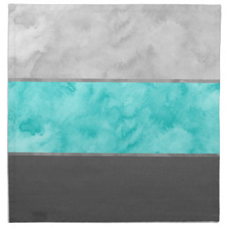 Turquoise Gray Block Stripes Napkin