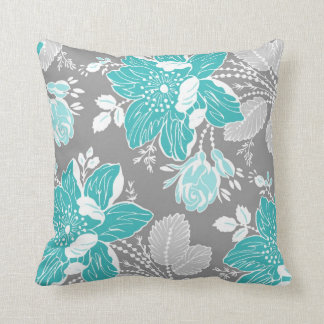 Turquoise Gray White Floral Decorative Pillow
