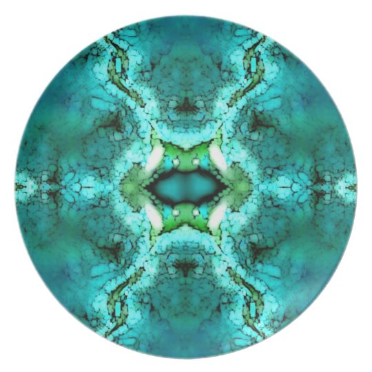 Turquoise Green Abstract Plate