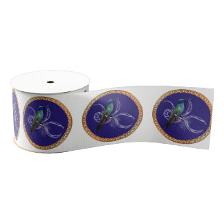 Turquoise green and blue with purple hummingbird grosgrain ribbon