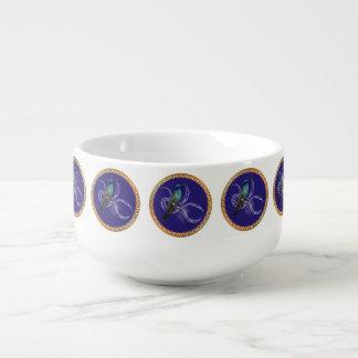 Turquoise green and blue with purple hummingbird soup mug