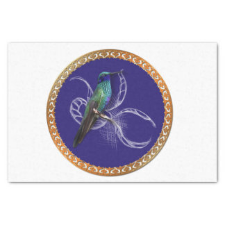 Turquoise green and blue with purple hummingbird tissue paper