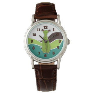 Turquoise Green and Brown Cartoon Dog Watch