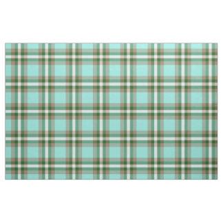 Turquoise Green Brown White Tartan Squares Pattern Fabric