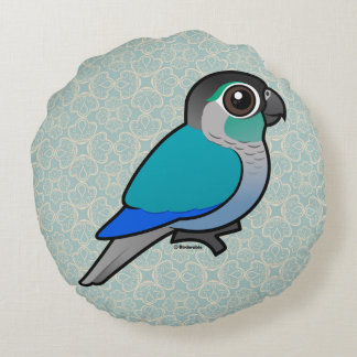 Turquoise Green-cheeked Conure Round Cushion