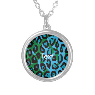 Turquoise Green Cheetah Abstract Round Pendant Necklace