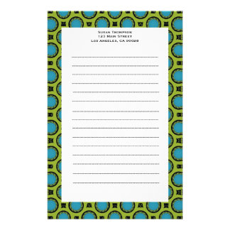 turquoise green circles personalised stationery