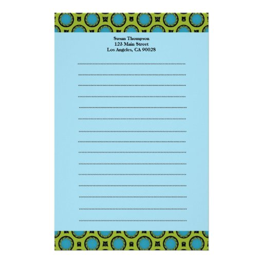 turquoise green circles personalized stationery