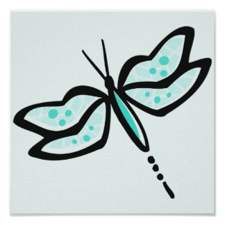 Turquoise Green Dragonfly Posters