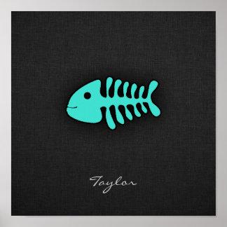 Turquoise Green Fish Bones Print