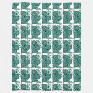 Turquoise Green Gerbera Daisy Flower Bouquet Fleece Blanket