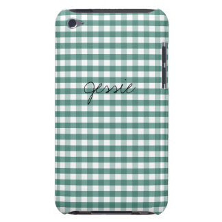 Turquoise Green Gingham Customizable iPod Touch Covers