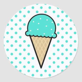 Turquoise Green Ice Cream Cone Classic Round Sticker