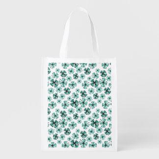 Turquoise Green Lucky Shamrock Clover Reusable Grocery Bag