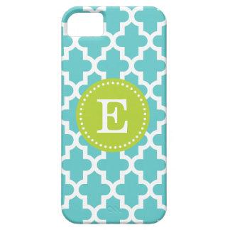 Turquoise & Green Modern Moroccan Custom Monogram iPhone 5 Cover