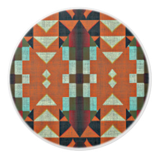 Turquoise Green Orange Tribal Cabin Mosaic Pattern Ceramic Knob