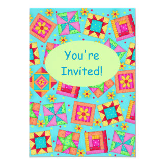 Turquoise Green Patchwork Quilt Block Art Card
