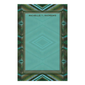 turquoise green personalized stationery