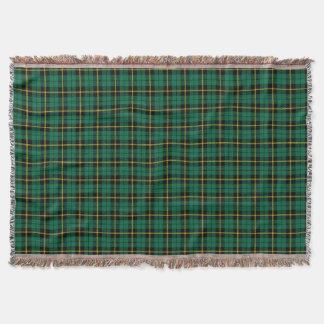 Turquoise green plaid print, black yellow stripe throw blanket