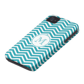 Turquoise Green & White Chevron Pattern iPhone 4 Case-Mate Cases