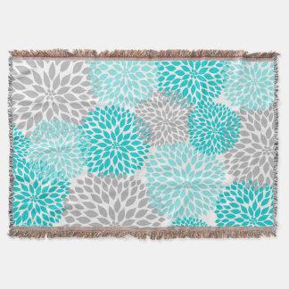 Turquoise Grey Dahlia Floral throw blanket