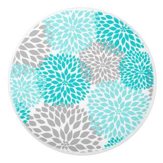Turquoise Grey Dahlias floral blossoms flowers Ceramic Knob