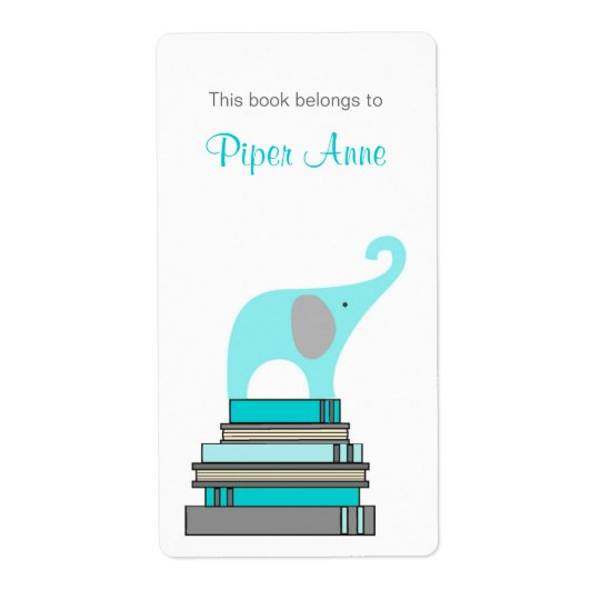 Turquoise & Grey Elephant on books book plate