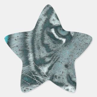 Turquoise Grunge Blk&Wht Tiger Star Sticker