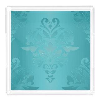 Turquoise Grunge Damask Acrylic Tray