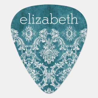 Turquoise Grungy Damask Pattern Custom Text Plectrum