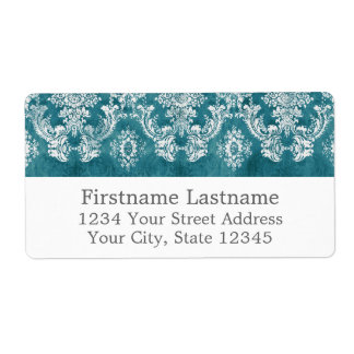 Turquoise Grungy Damask Pattern Custom Text Shipping Label