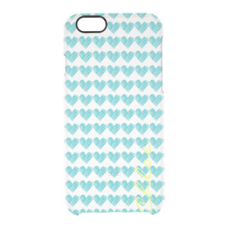 turquoise hand drawn hearts with name clear iPhone 6/6S case
