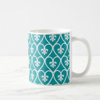 Turquoise Heart Fleur De Lis Basic White Mug